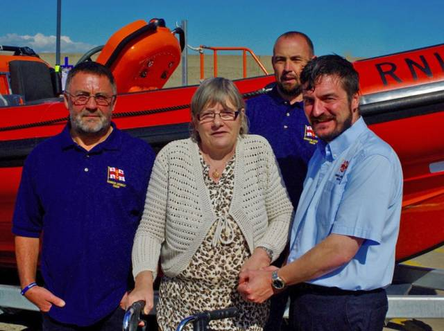 Geraldine Donnelly visits her rescuers at Bangor RNLI