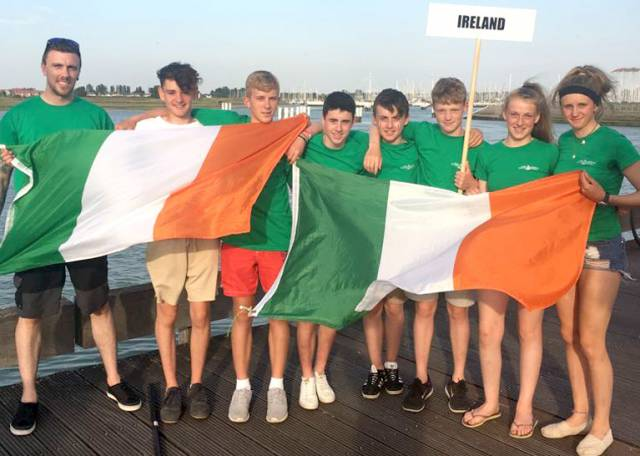 The Irish 4.7 Sailing Squad members (left to right) Coach Chris Penny, Jack Fahy( RStGYC) Michael Carroll(KYC) Tom Higgins(RStGYC)Michael O'Suilleabhain(KYC)Thomas Mulvenna(CYC)Eve McMahon(HYC)Clare Gorman(NYC).