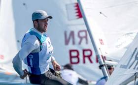 Finn Lynch racing in the World Cup Medal Race in Genoa