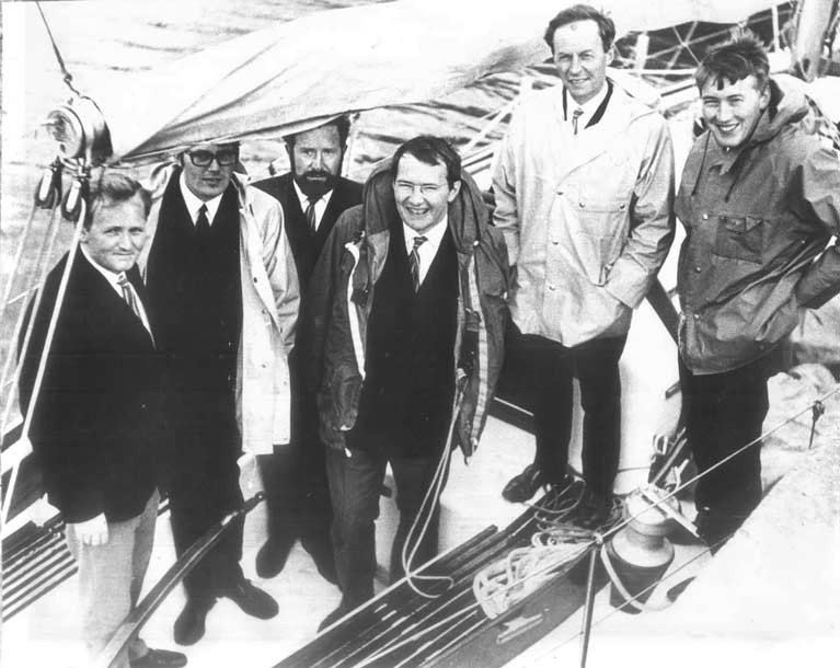 Sarnia's youthful overall winning crew in the 1967 RORC Beaumaris-Cork Race were (left to right) George Sisk, Frank Larkin, Richard Lawton, Hal Sisk, Jim O'Shea and John Sisk