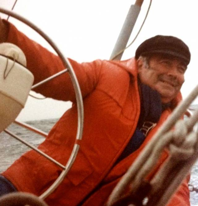 """A man who really enjoyed his sailing"" – the late Paddy Kirwan at the helm of his Club Shamrock Boomerang, which he owned and campaigned for 19 years. Photo courtesy Ann Kirwan"