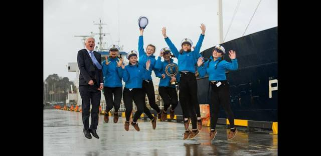 Laurel Hill winners at the third Shannon Foynes Port Company 'Compass' TY competition for Transition year students as seen alongside quays at the Port of Foynes in Co. Limerick