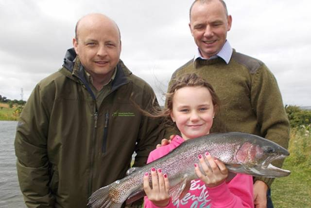 Alana Kerr (9) of Dunmoe, Co.Meath and Brendan Kerr and Oisin Cahill of IFI