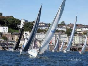 The fleet depart Cobh for the race to Blackrock in fine conditions. Scroll down for photo gallery