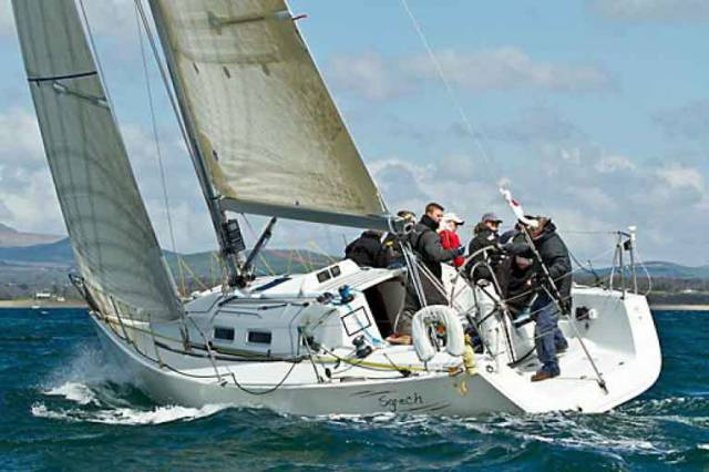 Stephen Tudor's defending ISORA Champion, the J/109 Sgrech from Pwllheli, in her glorious home waters. Today she's racing in the Holyhead-Dun Laoghaire race, in which Progressive ECHO is being tested against IRC to see if more cruising-oriented boats can be encouraged into ISORA Racing