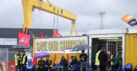 Workers of Harland & Wolff continue their protest at the famous historic shipyard located at Queen's Island, Belfast