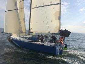 Ian Lipinski's one-off Griffon is probably the oddest-looking boat in the Mini fleet, but once again she leads overall in the Open Division, this time in the current 220-mile Trophee Agnes Peron circuit from Douarnez