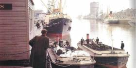 A free exhibition and lectures organised by the Dublin Dock Workers Preservation Society take place this March at EPIC - The Emigrant Irish Emigration Museum housed in the chq Custom House Quay. Above: A bygone era as Guinness ships and barges line the Liffey.