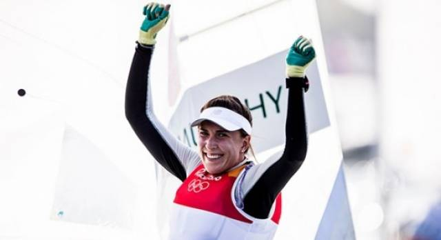 Annalise Murphy celebrates her race win