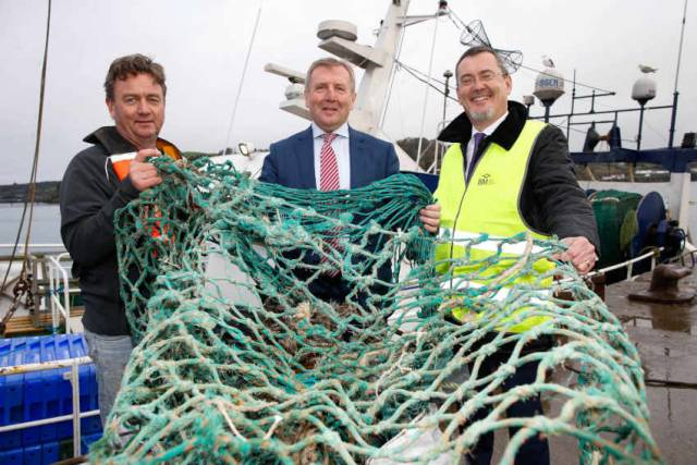 West Cork trawlerman Adrian Bendon, Marine Minister Michael Creed and Jim O'Toole, chief executive of Bord Iascaigh Mhara launching the Clean Oceans Initiative in Union Hall earlier this year