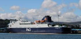 P&O Ferries ropax European Highlander at Larne, the vessel is one of two that operates the year round route to Cairnryan, Scotland