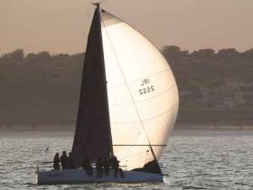 The heart of it all. The Corby 25 Fusion (Richard Colwell & Ronan Cobbe) in a club evening race at Howth
