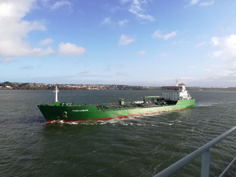Tanker Thun London departing the Milford Haven Waterway in Wales (a proposed UK Free-Port). The 20,499 cargo capacity newbuild launched last year is from a series of chemical tankers ordered by a Swedish lake based shipping group, which are regular callers to Dublin Port where the new vessel is berthed today.