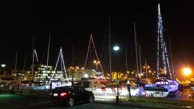'Tis the season to be jolly – and ahead of the game. The festive lights on the marina boats in Galway Dock are starting to become competitive