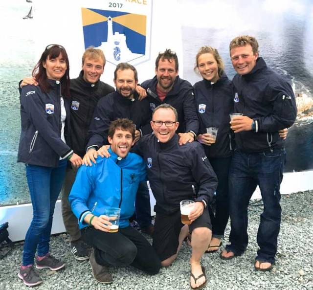 That winning feeling….the crew of the Irish National Sailing School's J/109 Jedi in Plymouth after winning Class 3B in the Rolex Fastnet Race 2017 are (left to right, back row): Deirdre Foley, Lorcan Tighe, Fearghus McCormack, George Tottenham, Kylie McMillan and Kenneth Rumball. Front row: Conor Kinsella and Keith Kiernan
