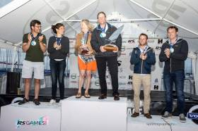 Alex Barry and Richard Leonard (right) on the podium with second-placed Francisco and Teresa Lobato (left) and RS400 European champions Sarah and Stewart Robertson (centre)