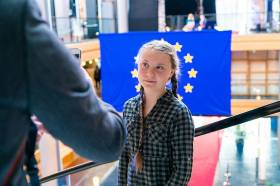 Greta Thunberg at the European Parliament this past April