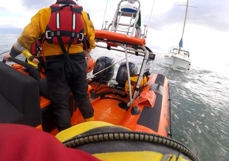 Skerries RNLI towing the yacht into Rogerstown
