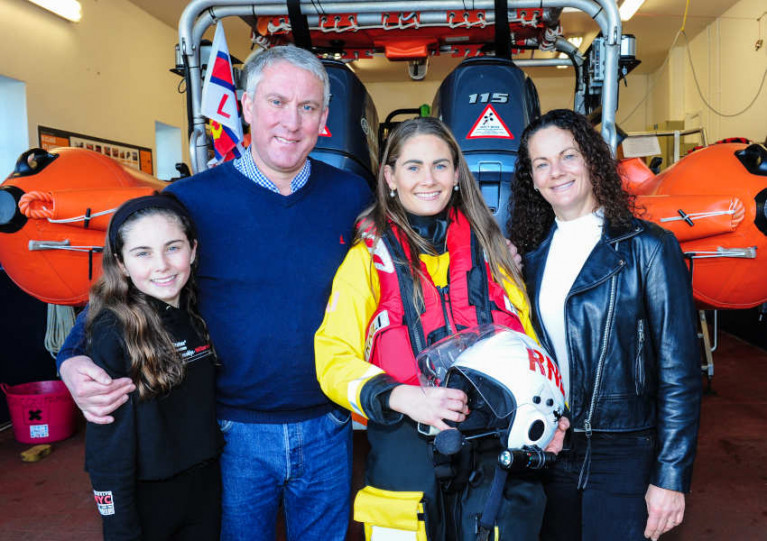 Robert and Colette Foster with their lifeboat crew daughter Caoimhe and her younger sister Clodagh at Crosshaven RNLI