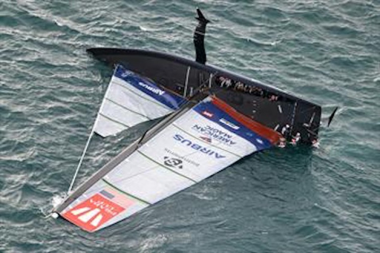 Patriot capsized after day three of the Prada Cup in Auckland