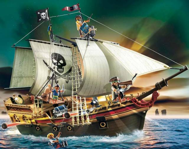 Ollie and Harry Ferguson, with the help of their father, adapted a Playmobil pirate ship much like this one to sail the open seas for real