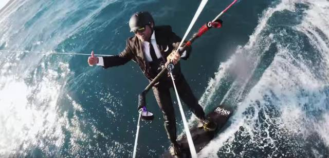Thomson kitesurfs more than twice the height of his HUGO BOSS mast. See full video below.