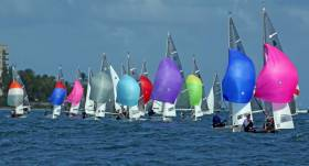 GP14s run downwind at the Barbados World Championships
