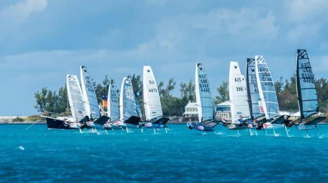 David Kenefick (IRL 4148) gets a front row start at the Moth Nationals in Bermuda