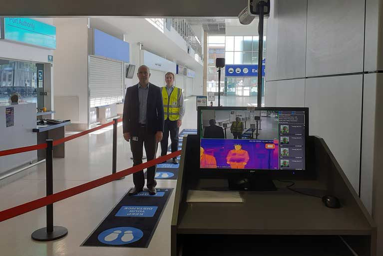 The temperature screening technology involves using a camera detection system to monitor the temperature of passengers