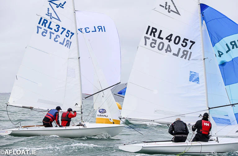 Flying Fifteens racing on Dublin Bay at last weekend's NYC 150th Anniversary Race Day
