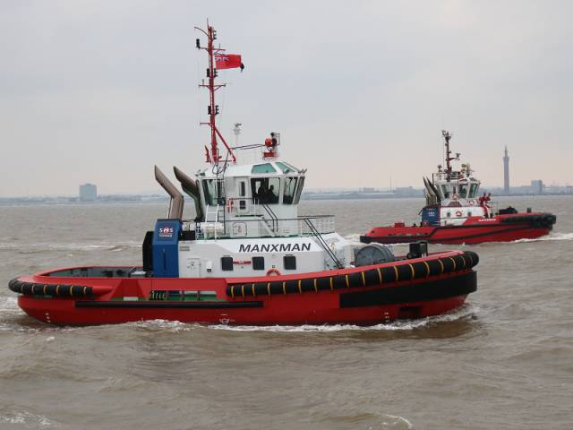SMS Towage's new tug, Manxman makes maiden voyage down the Humber estuary in the UK and where several ports line this coastline that leads to the North Sea.  Among the SMS fleet is Irishman which transferred from Belfast in recent years to the North Sea and today Afloat noted in Solent waters having departing Portsmouth.