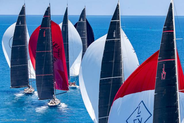 The J Class fleet in action in their first dedicated America's Cup regatta