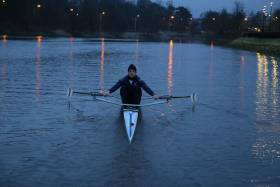 Philip Doyle, the top single sculler at the University Championships of Ireland today.