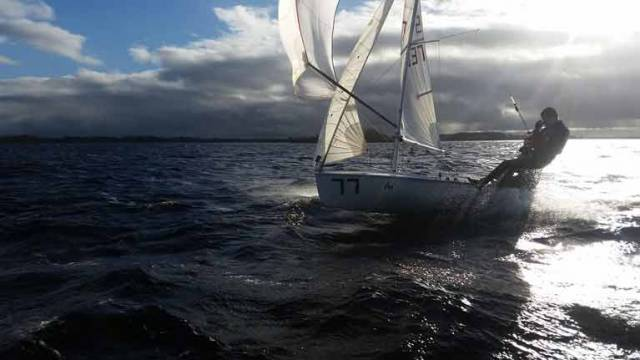 420 sailors Matthew White and Luke Johnston training on Lough Ree in January