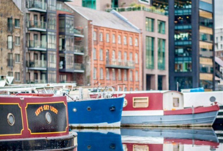File image of houseboats with permits to moor long-term at Grand Canal Dock in Dublin city centre