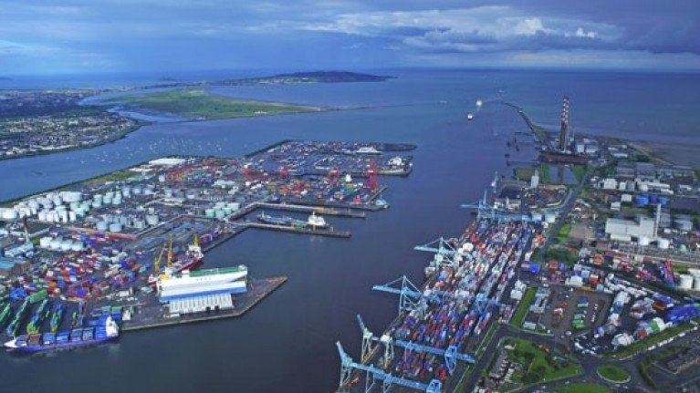 Aerial view of Dublin Port