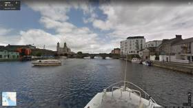 Athlone town centre as seen from the Shannon on Google Maps
