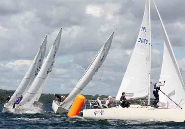 Close racing at the J24 Western Championships at Lough Erne Yacht Club