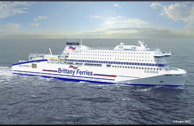 Brittany Ferries has ordered a newbuild cruiseferry to be named Honfleur that will operate on the English Channel. The shipyard FSG is also the same German company currently constructing ICG/Irish Ferries new cruiseferry due by mid-2018.