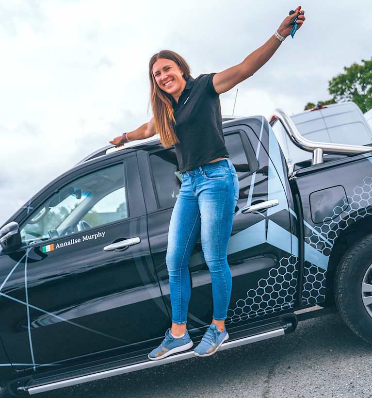 Annalise Murphy, pictured with her Mercedes-Benz X-Class pickup, has been selected to represent Ireland in the Laser Radial class at the forthcoming 2021 Olympic Games in Tokyo