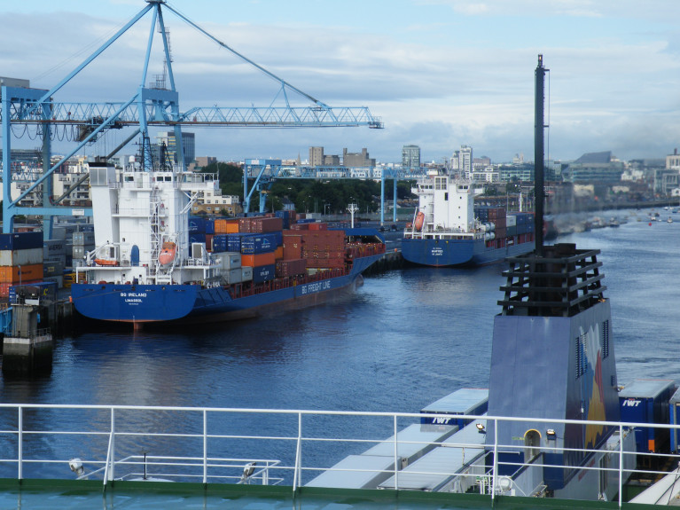 The pandemic has not affected operations to date, and there is no disruption to the supply chain according to RTE News. Above AFLOAT's (file photo) taken in Dublin Port from on board ropax freight ferry Norbank when departing for Liverpool, while container ships BG Ireland and Manfred were berthed along the South Bank Quay. This location of one of three Lo/Lo terminals throughout the capital's port estate.