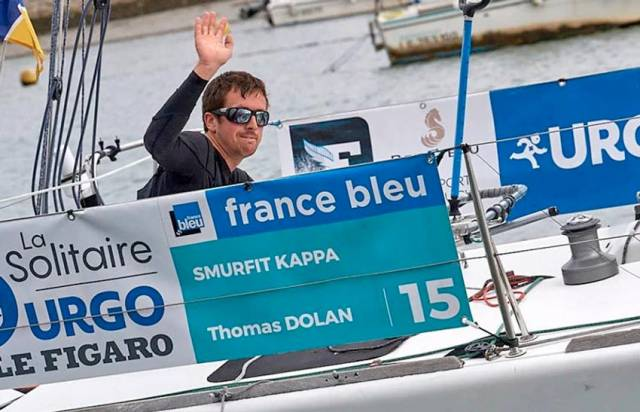 Tom Dolan in the boat he sailed in his Figaro debut last year