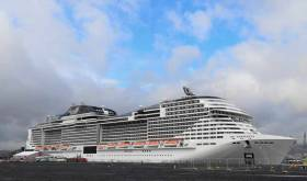The visiting cruise liner MSC-Meraviglia in Belfast Harbour