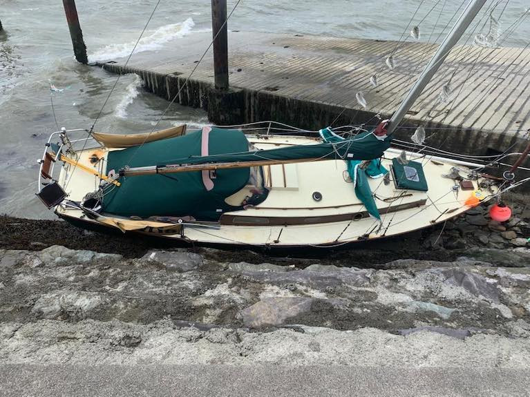 A yacht aground in Baltimore, West Cork during Storm Francis