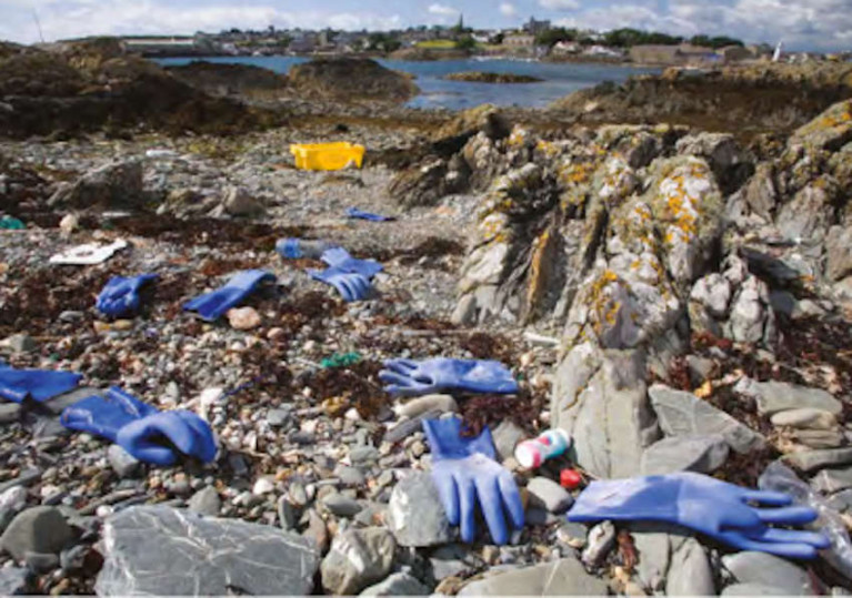 Plastic litter on rocks at Ardglass beach in Co Down