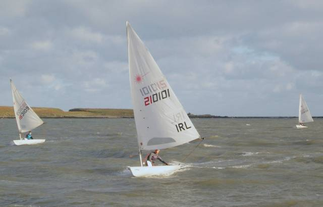 Action from yesterday's Laser Frostbites races off Howth