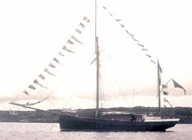 The 56ft ketch Ilen shortly after her launch at Baltimore in 1926
