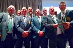 Team Ireland Men's Shore Angling Team from (L to R) Aiden O'Halloran Captain, Willie Weir, Joe Carley, Richard Gormley, Albert Allen, Sean Ivory Asst. Manager, JP Molloy, John O Brien Manager