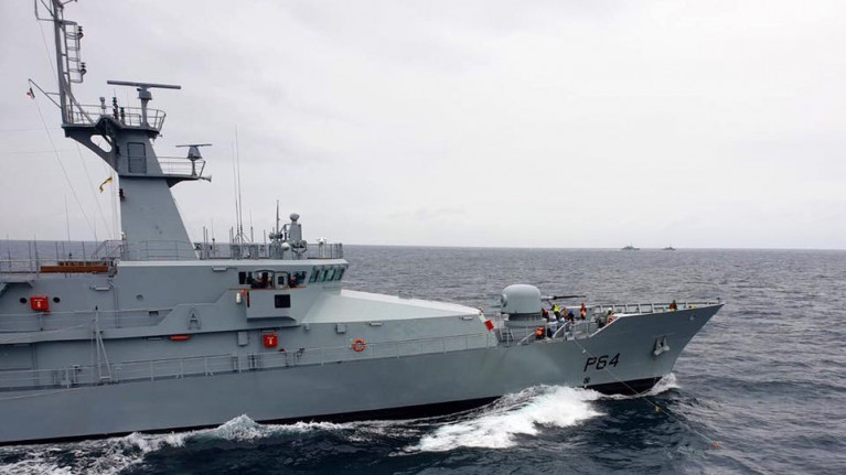 LE George Bernard Shaw, the newest Naval Service patrol vessel Afloat adds on annual fleet exercise conducted last year