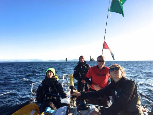 The magic moment The Irish National Sailing Sschool's J/109 Jedi with the Fastnet Rock put astern this morning. They rounded at 07:29hrs